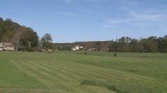Freshly mowed farm land - stock footage