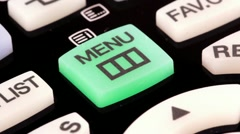 Remote control. Menu button Stock Footage