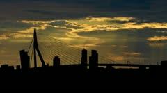 Nederland  Erasmus bridge Rotterdam sunbeams Stock Footage