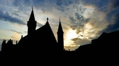 Nederland  Het Binnenhof Riderzaal sunset clouds - stock footage