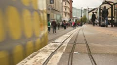 Tram Arrives  at Stop HD File Stock Footage