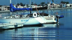 Sail Boat Docked In Marina - stock footage