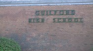 Sign for High School on the side of the school building Stock Footage