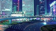 The light trails of city traffic in shanghai, china. time lapse Stock Footage