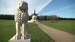 Lion Stature and Peace Pagoda Willen Milton Keynes Stock Footage