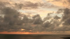 Tropical sunset cloudscape over the Pacific Ocean - stock footage