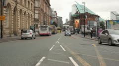 Busy Road View Of Manchester in Background HD Stock Footage