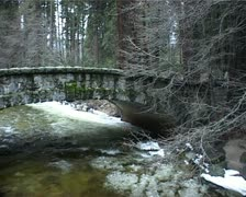 Frazil Ice under a Bridge on the Merced River, Yosemite in Winter GFSD Stock Footage