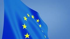 Euro flag closeup Stock Footage