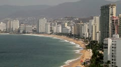 Acapulco Bay Buildings Panoramic Stock Footage