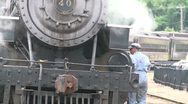 Engineer looking over train (1 of 2) Stock Footage