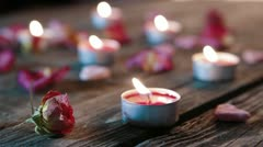 Candles fading one by one - stock footage
