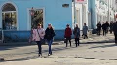 PETROZAVODSK, RUSSIA -April, 13: Pedestrians crossing Gertsen street in the - stock footage