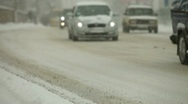 Winter driving in city Stock Footage