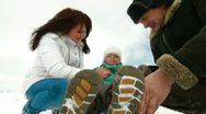Happy family in the winter Stock Footage