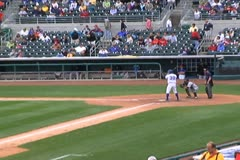Stock Video Footage of Batter Hitting a Single