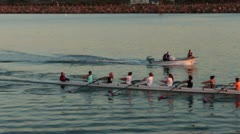 Rowing Crew In Channel - stock footage