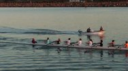 Rowing Crew In Channel Stock Footage