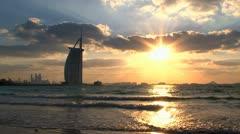 Sunset Burj al Arab hotel Stock Footage