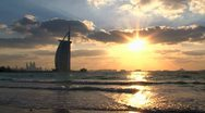 Sunset Burj al Arab hotel Stock Footage