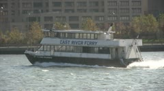 Ferry on New York waterway Stock Footage