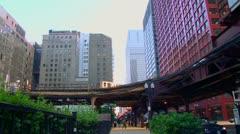 Chicago Train Through City 2 Stock Footage