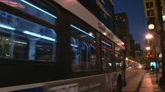 City Bus Through Chicago at Night - stock footage