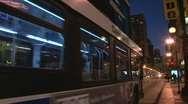 City Bus Through Chicago at Night Stock Footage