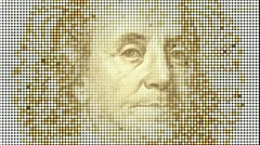 100 dollars note, glowing lights background  - stock footage