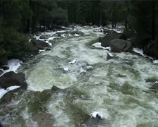 Beautiful Scenic of the Merced River with Ice, Yosemite in Winter GFSD Stock Footage