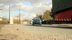 Truck approaching roundabout Stock Footage
