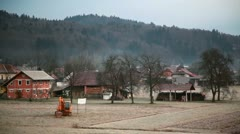 Small Hamlet at Winter Time Stock Footage