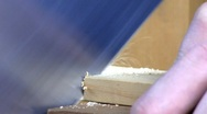 Cutting with a back saw Stock Footage
