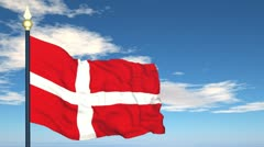 Flag Of Danmark Stock Footage