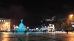 Monument to Bohdan Khmelnytsky in Kiev timelapse Stock Footage