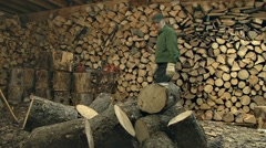 Man Splitting Firewood in Woodshed Timelapse 1 Stock Footage