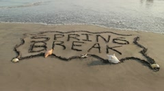 Spring Break Banner Erased by Ocean (HD) - stock footage