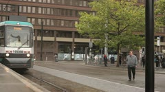 Tram Approaches Manchester Stop HD Stock Footage