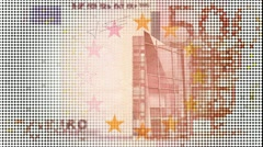 500 euro note, glowing lights background Stock Footage