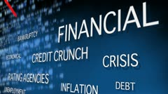 Financial crisis related words Stock Footage