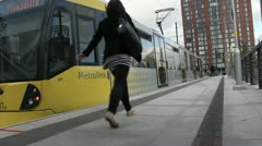 Lone Female Enters Tram HD Stock Footage