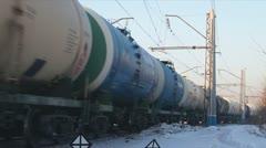 Russian Railways. Locomotives, wagons. Stock Footage
