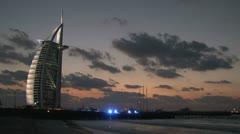 Burj al Arab hotel in the evening Stock Footage