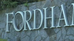 Fordham University sign Stock Footage