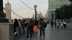 Crowds neartower bridge london - stock footage