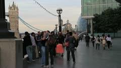 Crowds neartower bridge london Stock Footage