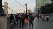 Stock Video Footage of Crowds neartower bridge london
