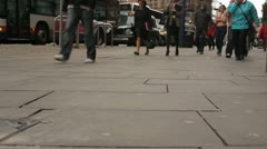 People Walking In City Manchester Dark Day Stock Footage