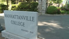 Manhattanville College sign (1 of 2) Stock Footage