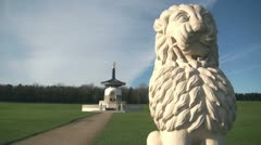 Lion Statue and Peace Pagoda, Willen, Milton Keynes Stock Footage